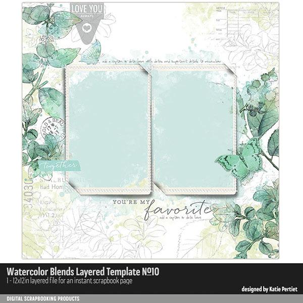 Watercolor Blends Layered Template 10 Digital Art - Digital Scrapbooking Kits