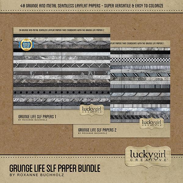 Grunge Life SLF Paper Bundle Digital Art - Digital Scrapbooking Kits