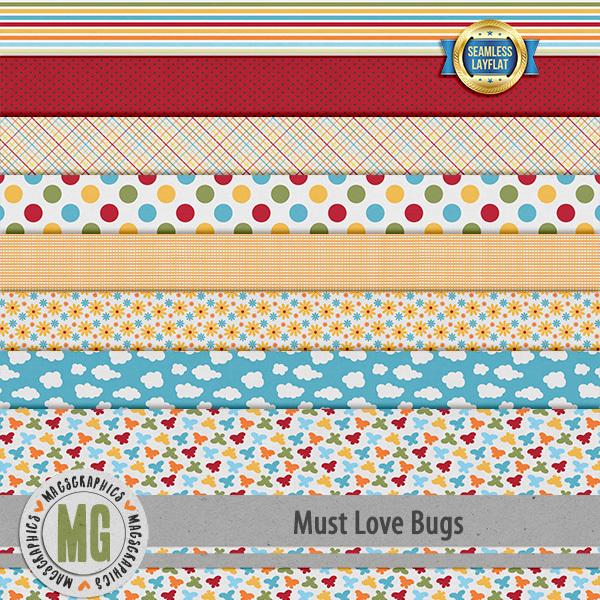 Must Love Bugs SLF Papers Digital Art - Digital Scrapbooking Kits