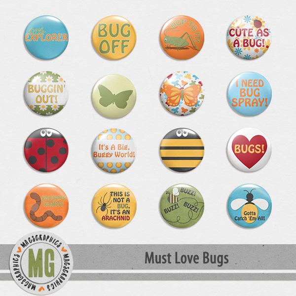 Must Love Bugs Flair Digital Art - Digital Scrapbooking Kits