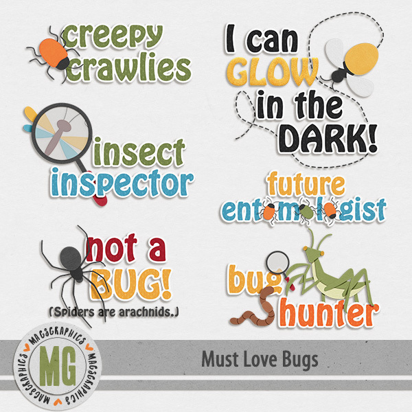 Must Love Bugs Word Art Digital Art - Digital Scrapbooking Kits