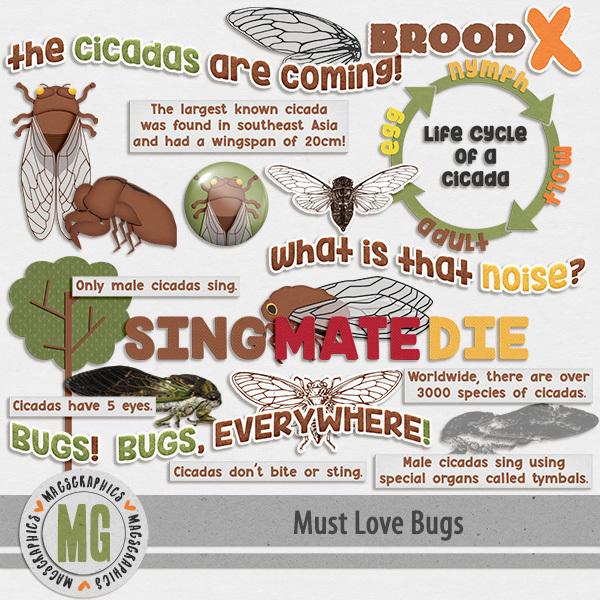 Must Love Bugs Cicada Invasion Digital Art - Digital Scrapbooking Kits