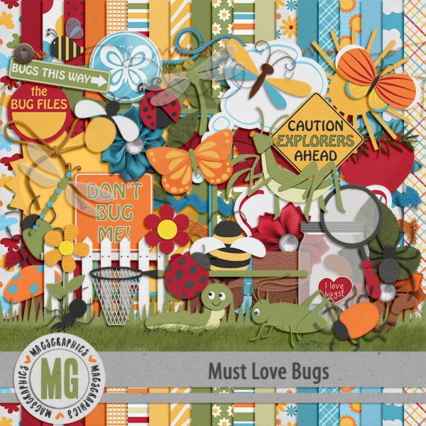 Must Love Bugs Kit Digital Art - Digital Scrapbooking Kits