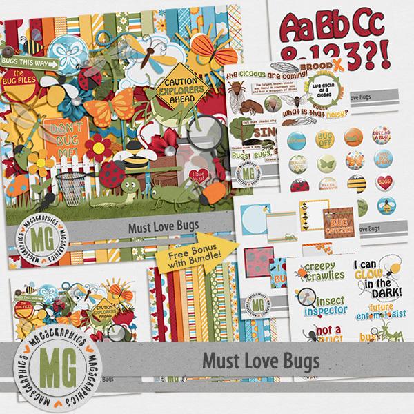 Must Love Bugs Bundle Digital Art - Digital Scrapbooking Kits