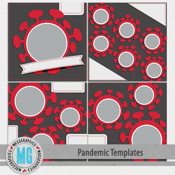 Pandemic 12x12 Templates Digital Art - Digital Scrapbooking Kits