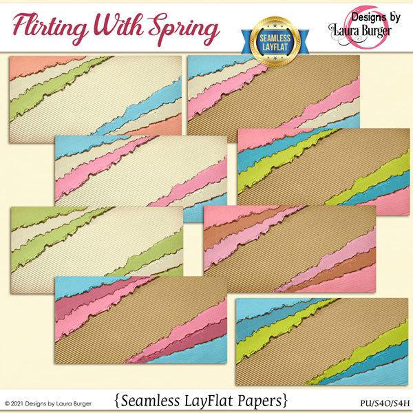 Flirting With Spring SLF Papers Digital Art - Digital Scrapbooking Kits