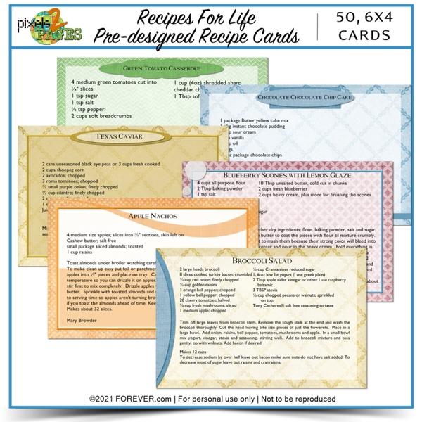 Recipes For Life Pre-designed Recipe Cards Digital Art - Digital Scrapbooking Kits