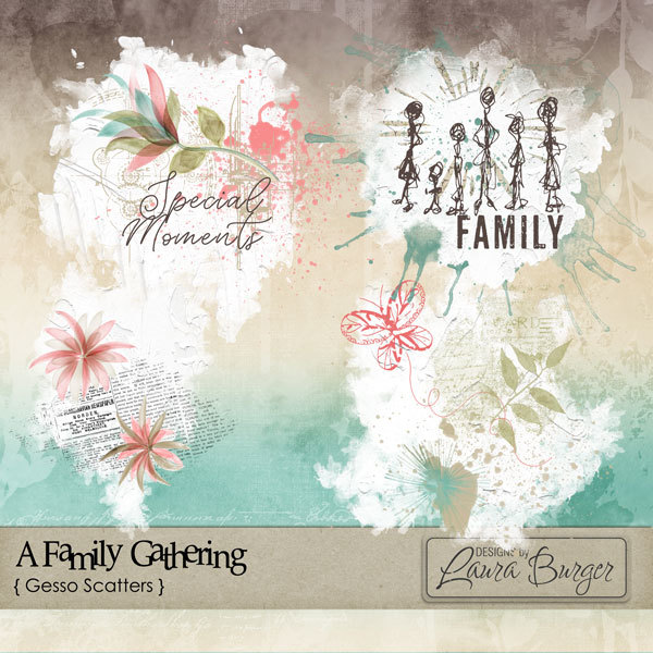 A Family Gathering Gesso Scatters Digital Art - Digital Scrapbooking Kits