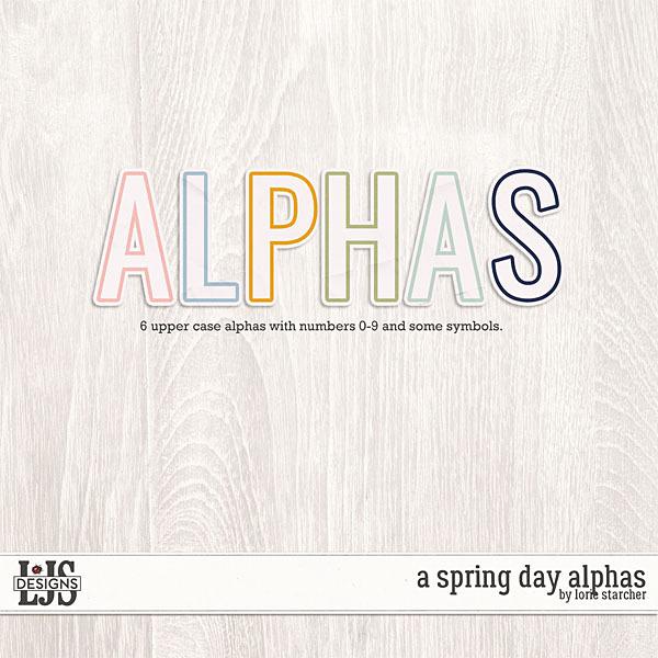 A Spring Day Alphas Digital Art - Digital Scrapbooking Kits