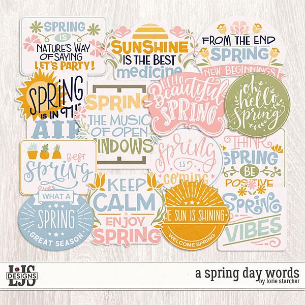 A Spring Day Words Digital Art - Digital Scrapbooking Kits