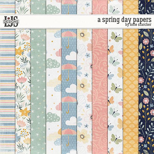 A Spring Day Papers Digital Art - Digital Scrapbooking Kits
