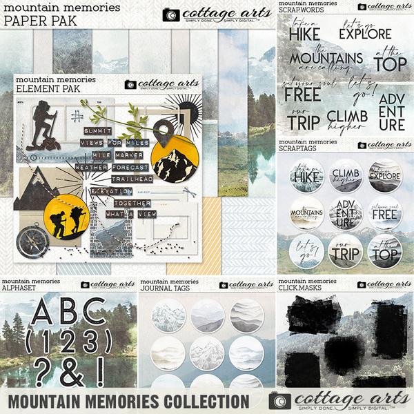 Mountain Memories Collection Digital Art - Digital Scrapbooking Kits