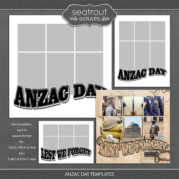 Anzac Day Templates Digital Art - Digital Scrapbooking Kits