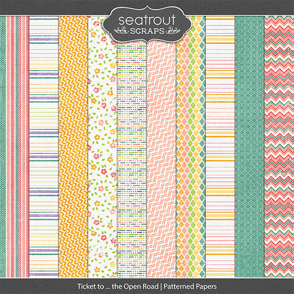 Ticket to ... the Open Road Patterned Papers Digital Art - Digital Scrapbooking Kits
