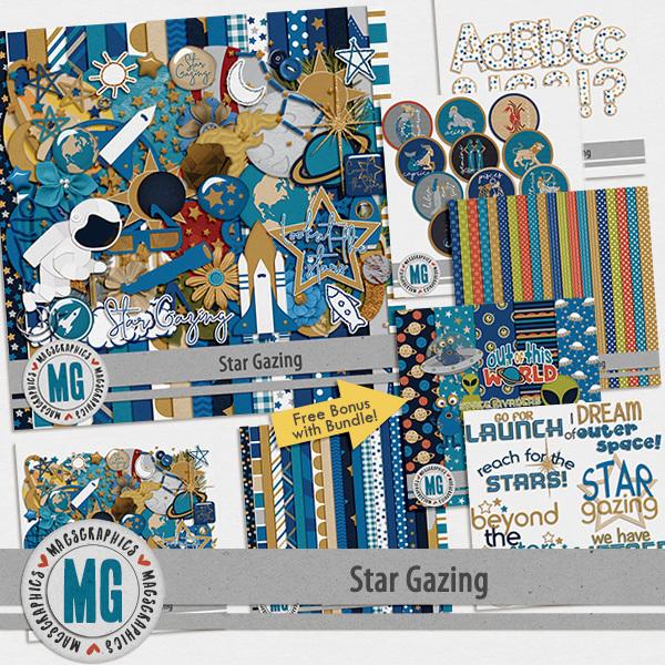 Star Gazing Bundle Digital Art - Digital Scrapbooking Kits