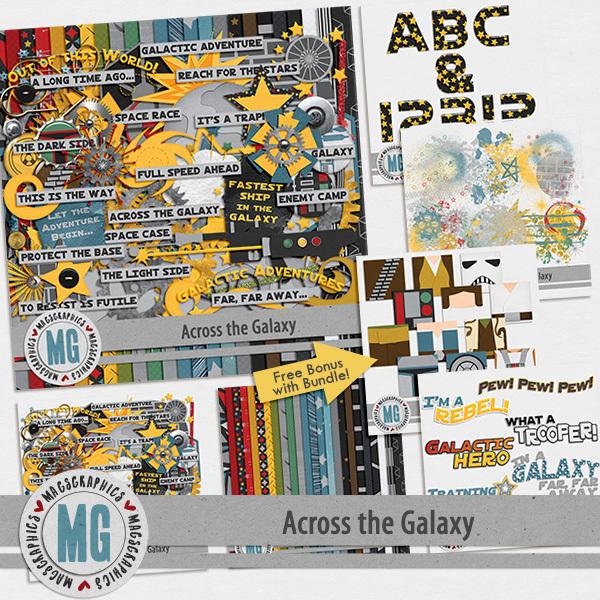 Across The Galaxy Bundle Digital Art - Digital Scrapbooking Kits