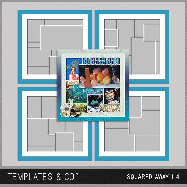 Squared Away 1-4 Digital Art - Digital Scrapbooking Kits