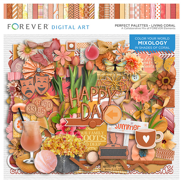 Perfect Palettes - Living Coral Digital Art - Digital Scrapbooking Kits