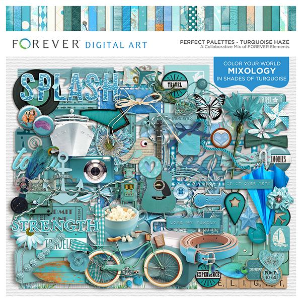 Perfect Palettes - Turquoise Haze Digital Art - Digital Scrapbooking Kits
