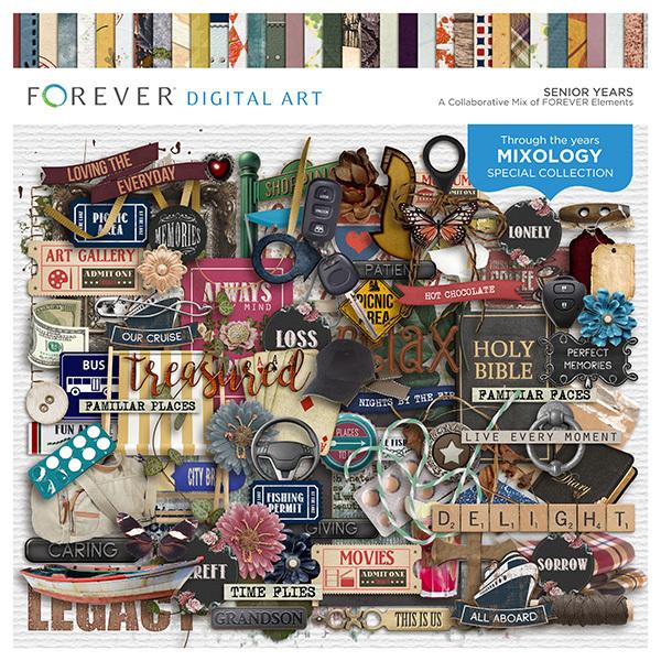 Senior Years Digital Art - Digital Scrapbooking Kits