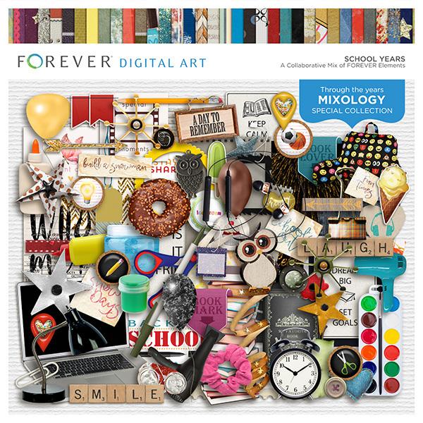 School Years Digital Art - Digital Scrapbooking Kits