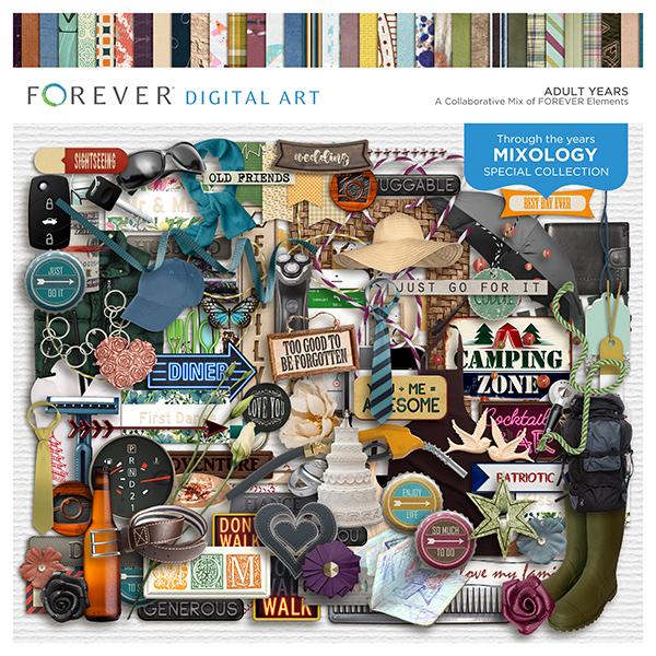 Adult Years Digital Art - Digital Scrapbooking Kits