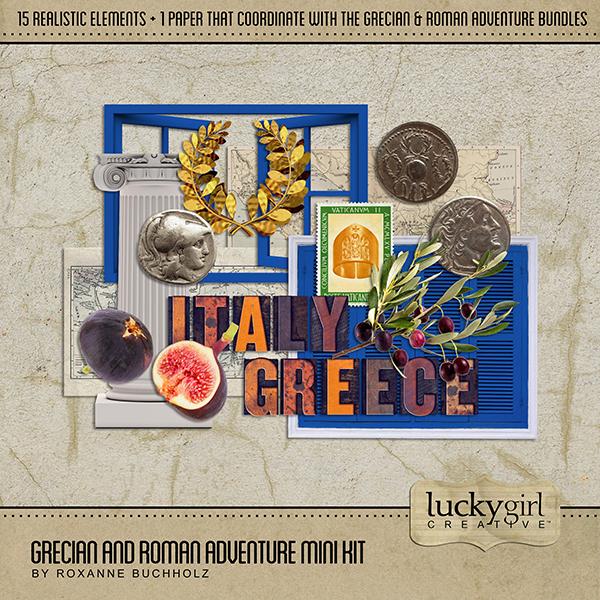 Grecian and Roman Adventure Mini Kit Digital Art - Digital Scrapbooking Kits