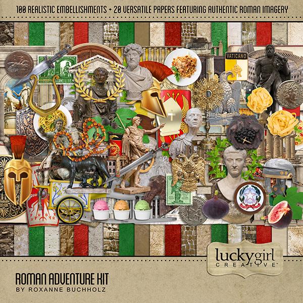 Roman Adventure Kit Digital Art - Digital Scrapbooking Kits