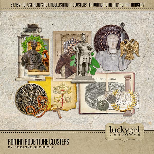 Roman Adventure Clusters Digital Art - Digital Scrapbooking Kits