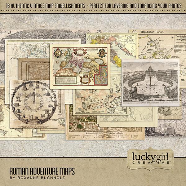 Roman Adventure Maps Digital Art - Digital Scrapbooking Kits