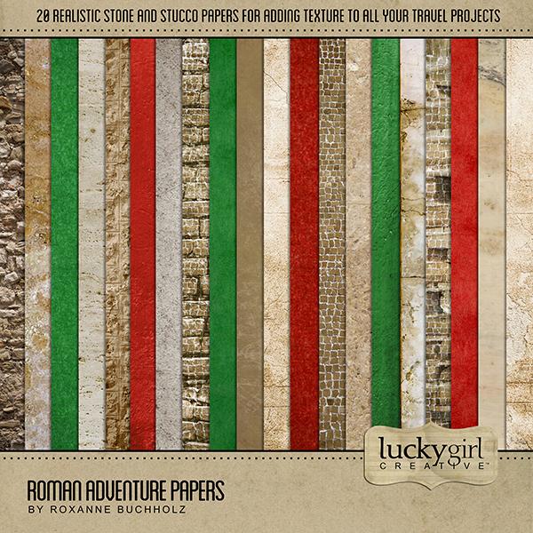 Roman Adventure Papers Digital Art - Digital Scrapbooking Kits