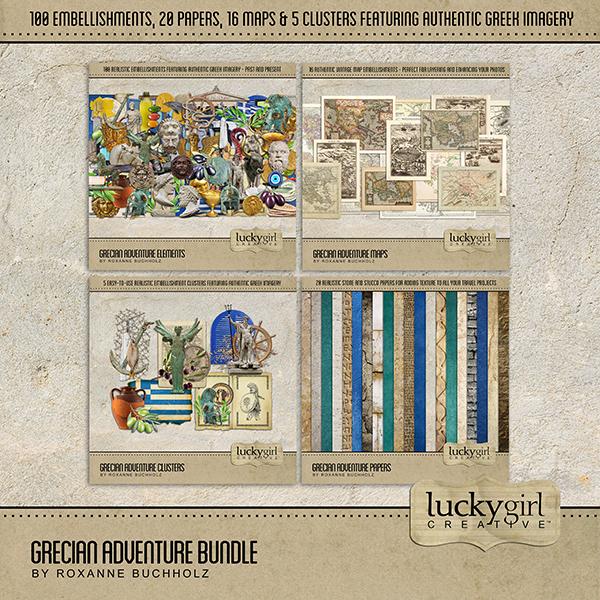 Grecian Adventure Bundle Digital Art - Digital Scrapbooking Kits