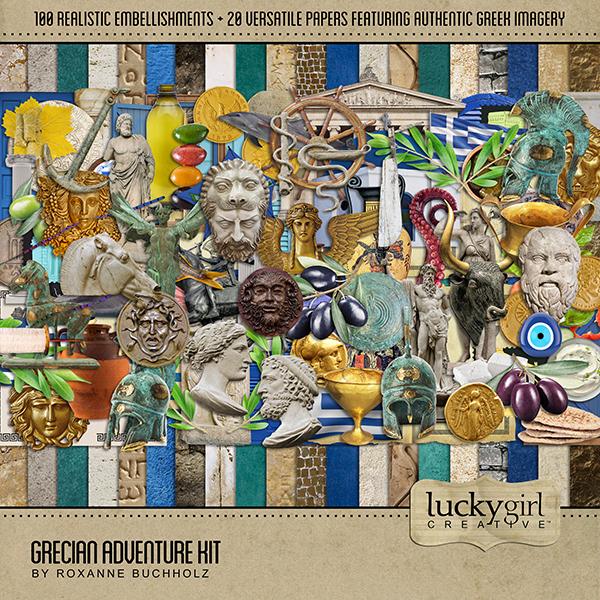 Grecian Adventure Kit Digital Art - Digital Scrapbooking Kits