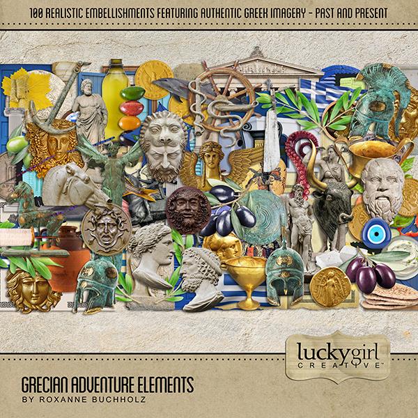 Grecian Adventure Elements Digital Art - Digital Scrapbooking Kits