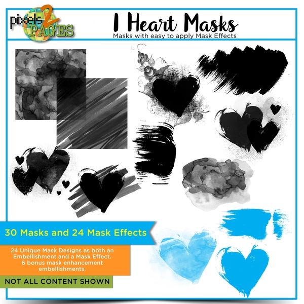 I Heart Masks - Mask Elements and Mask Effects Digital Art - Digital Scrapbooking Kits