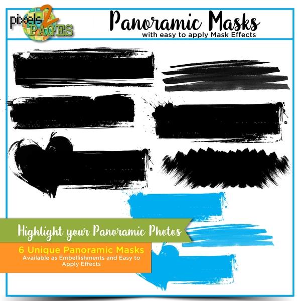Panoramic Masks and Mask Effects Digital Art - Digital Scrapbooking Kits