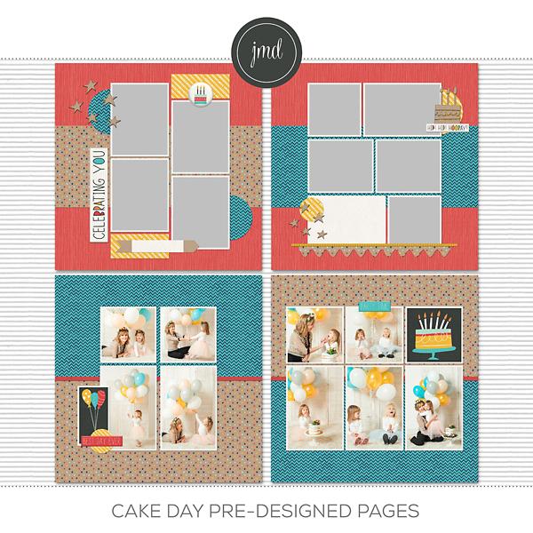 Cake Day Pre-Designed Pages Digital Art - Digital Scrapbooking Kits