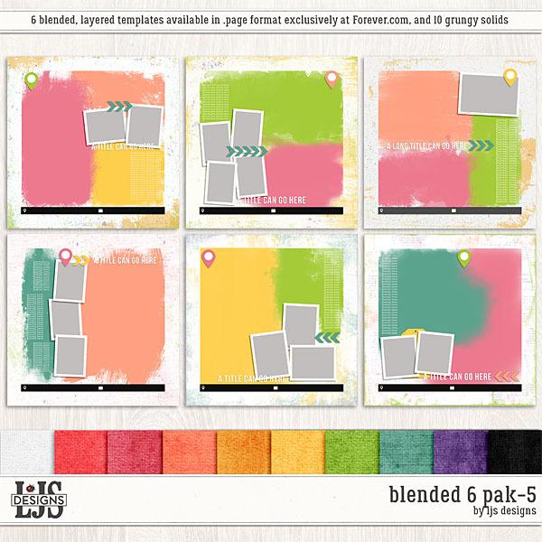 Blended 6 Pak 5 Digital Art - Digital Scrapbooking Kits