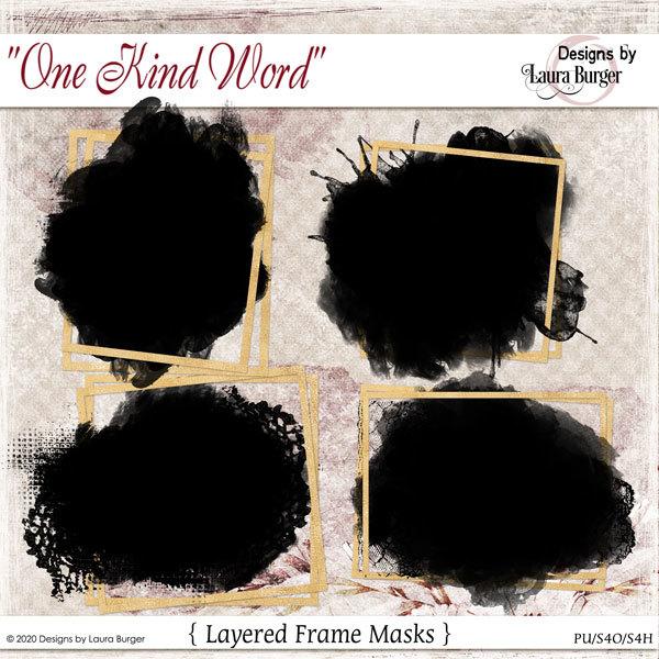 One Kind Word Mask Frames Digital Art - Digital Scrapbooking Kits