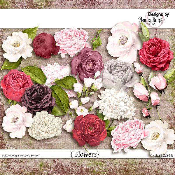One Kind Word Watercolor Flowers Digital Art - Digital Scrapbooking Kits