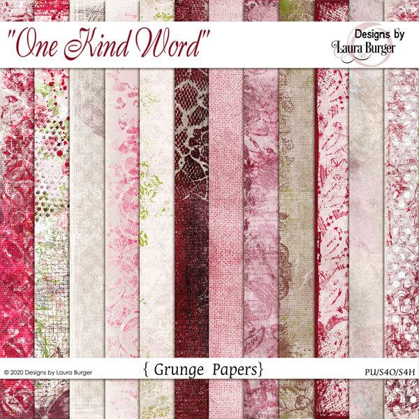 One Kind Word Grunge Papers Digital Art - Digital Scrapbooking Kits