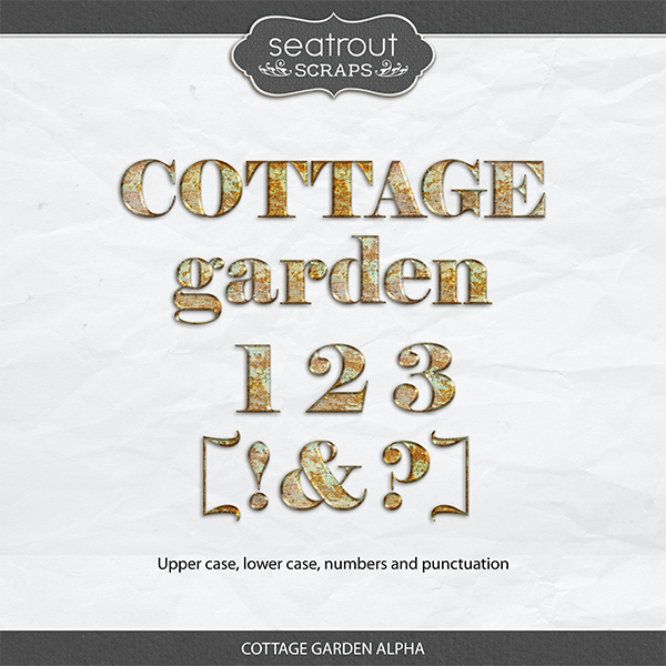 Cottage Garden Alpha Digital Art - Digital Scrapbooking Kits