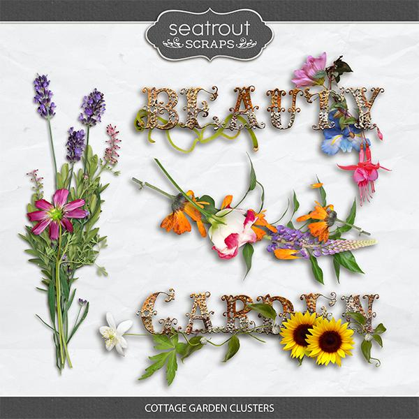 Cottage Garden Clusters Digital Art - Digital Scrapbooking Kits