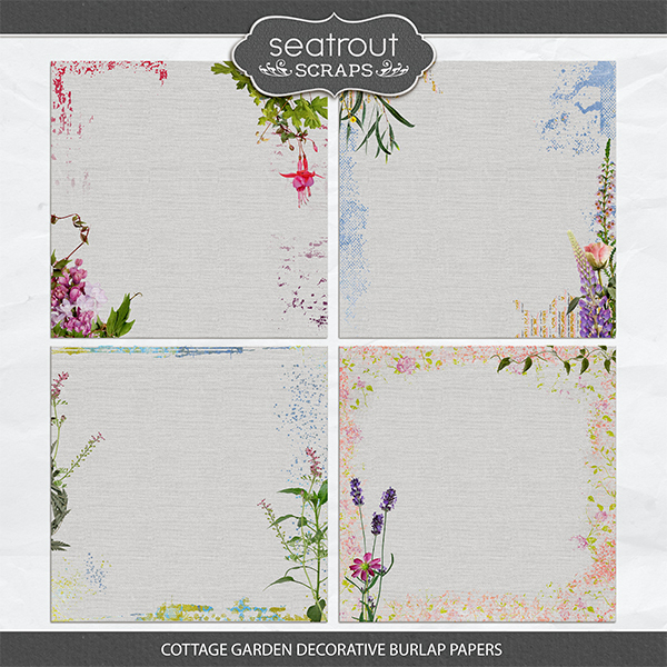 Cottage Garden Decorative Burlap Papers Digital Art - Digital Scrapbooking Kits