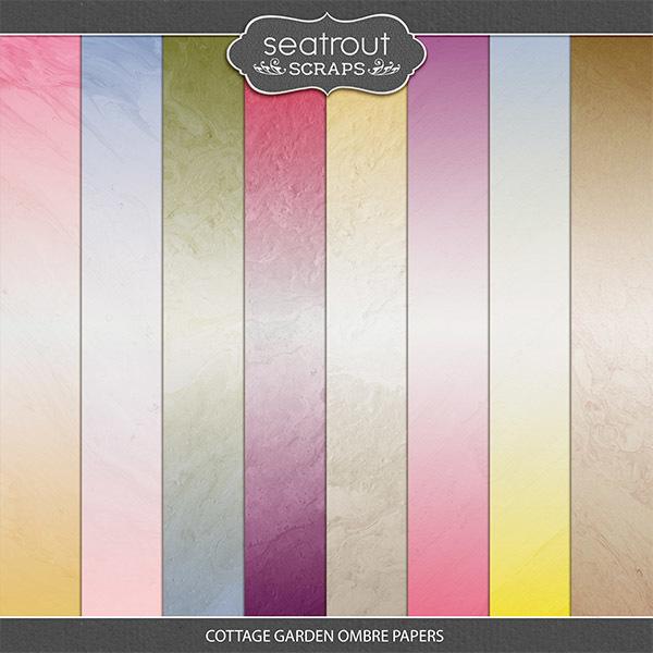 Cottage Garden Ombre Papers Digital Art - Digital Scrapbooking Kits