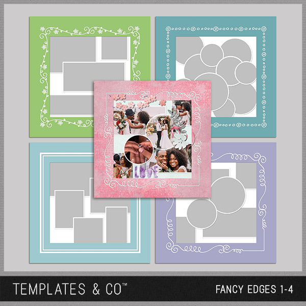Fancy Edges 1-4 Digital Art - Digital Scrapbooking Kits