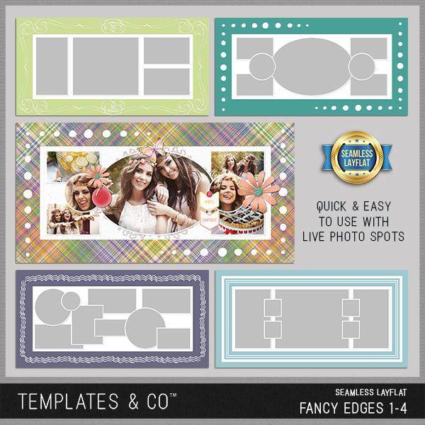 Seamless Layflat Fancy Edges 1-4 Digital Art - Digital Scrapbooking Kits