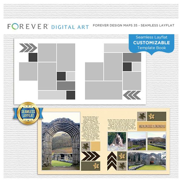 Forever Design Maps 35 - Seamless Layflat Digital Art - Digital Scrapbooking Kits