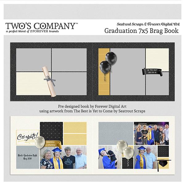 Graduation 7x5 Brag Book Digital Art - Digital Scrapbooking Kits