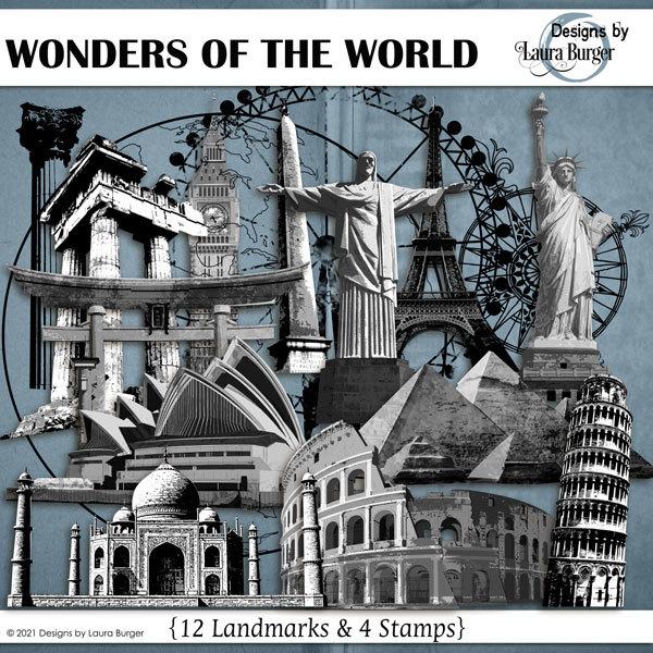 Wonders of The World Elements Digital Art - Digital Scrapbooking Kits
